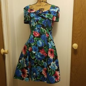 Vintage 1980s Retro Prom Evening Blue Floral Dress